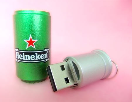 Heineken beer can USB drive